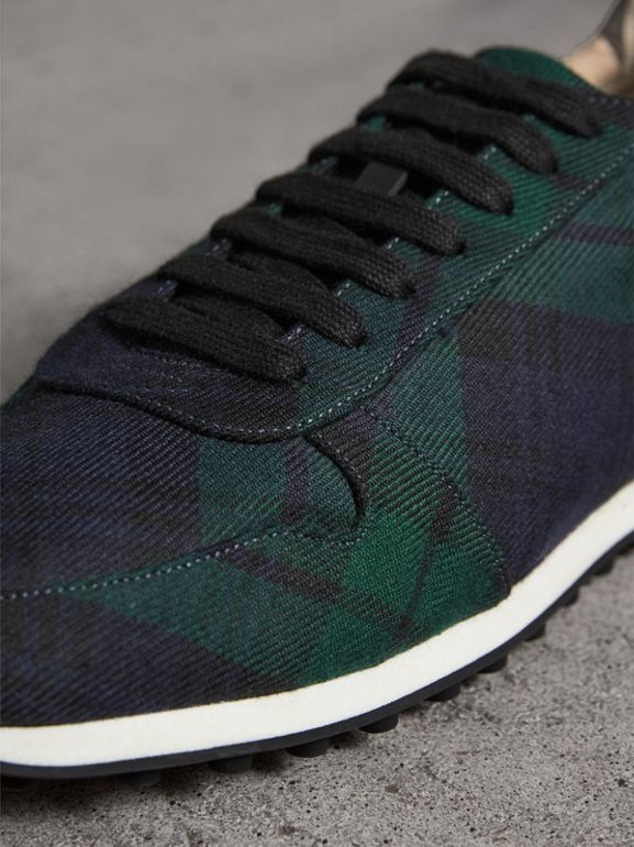 Tartan Wool Sneakers in Ink Blue - Men | Burberry - cell image 1
