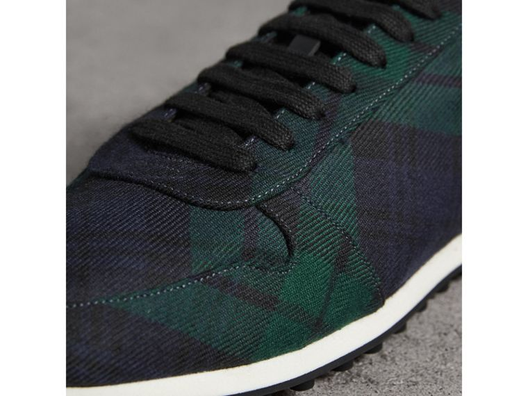 Tartan Wool Trainers in Ink Blue - Men | Burberry - cell image 1