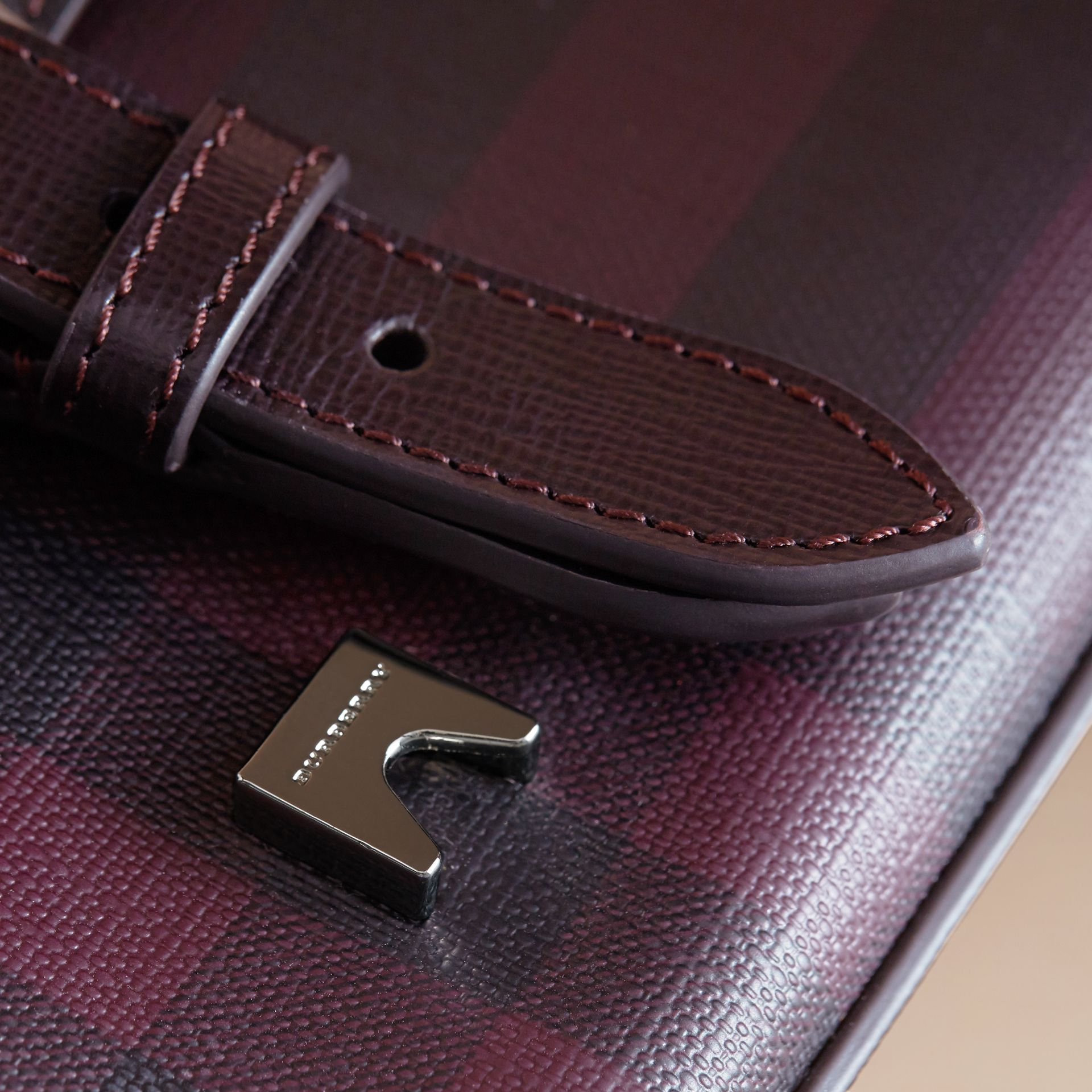 Medium Leather Trim London Check Messenger Bag in Deep Claret - Men | Burberry - gallery image 2