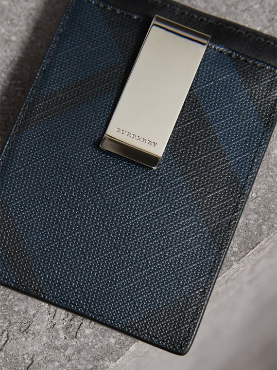 London Check Money Clip Card Case in Navy/black - Men | Burberry Canada - cell image 2