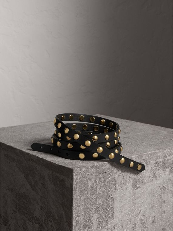 Studded Bridle Leather Double-wrap Belt in Black