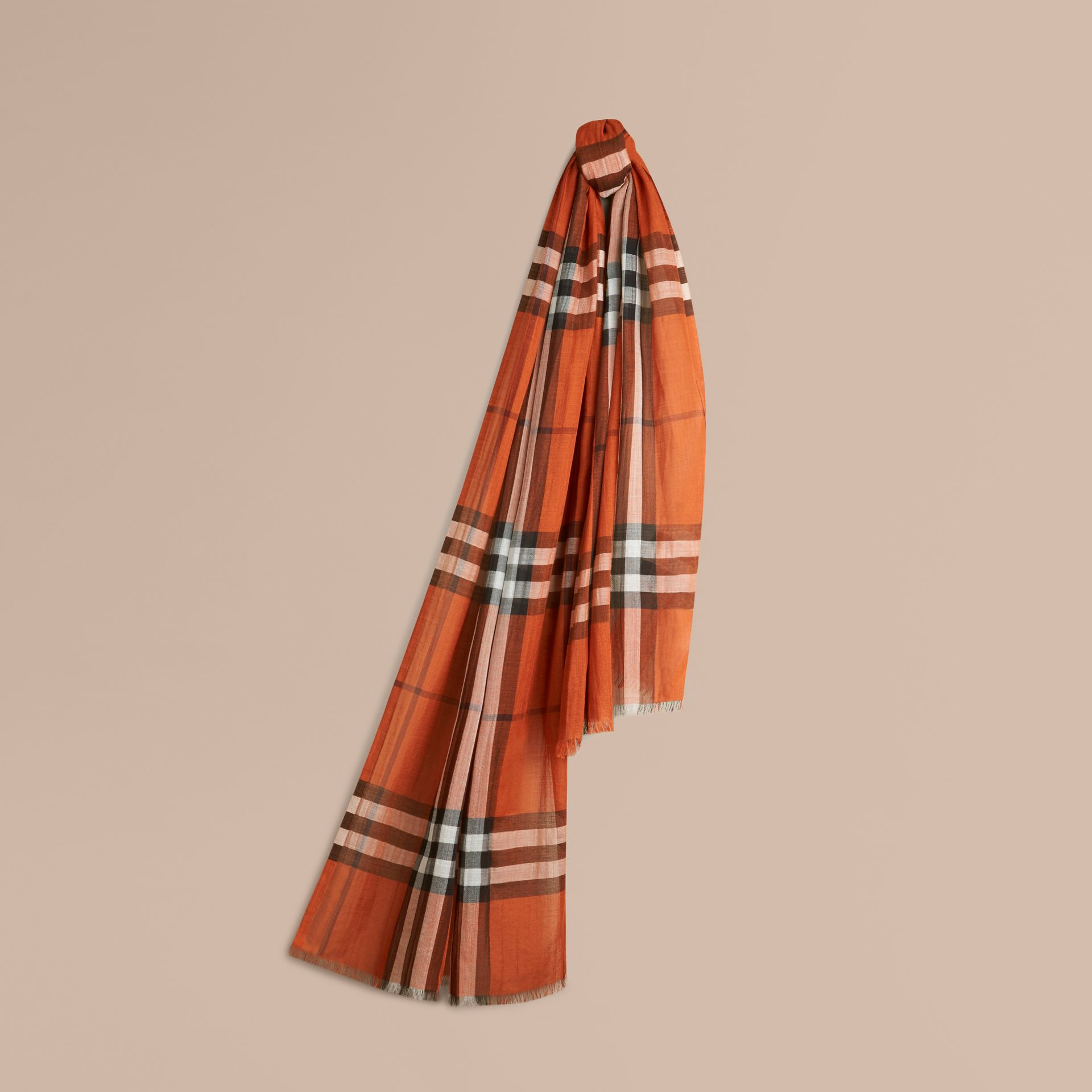 Burnt orange Lightweight Check Wool and Silk Scarf Burnt Orange - gallery image 1