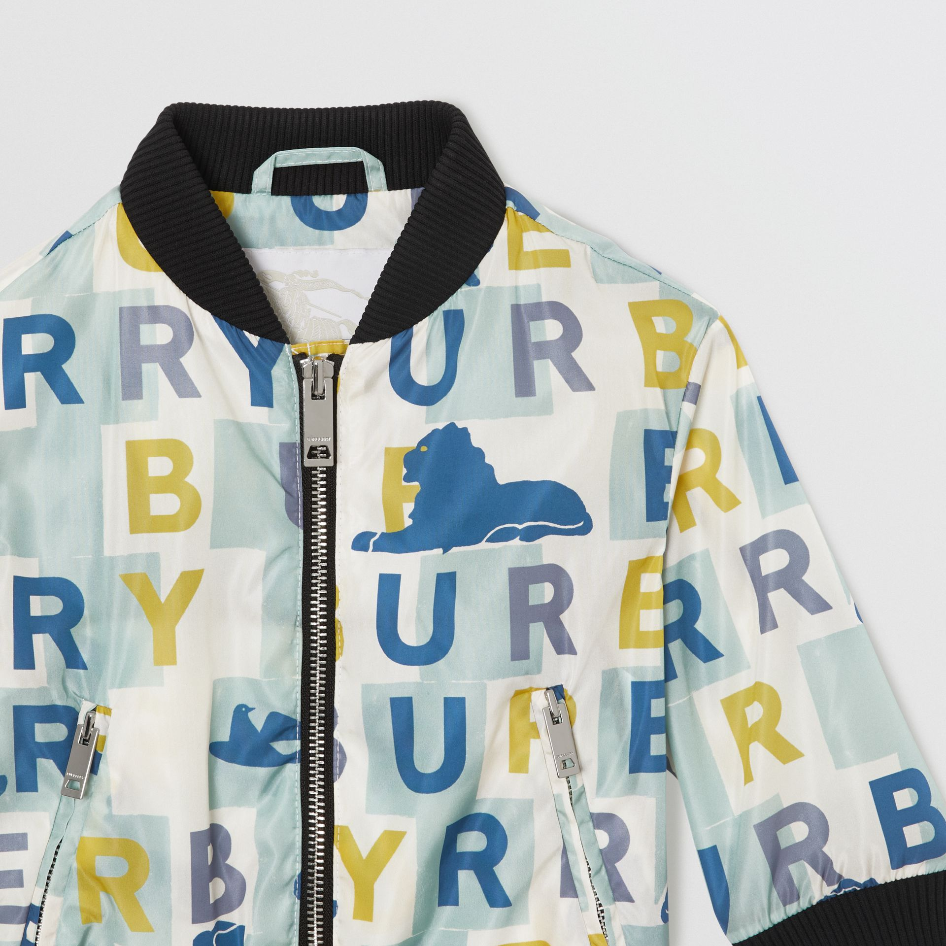 Logo Print Nylon Bomber Jacket in Pale Mint - Children | Burberry - gallery image 4