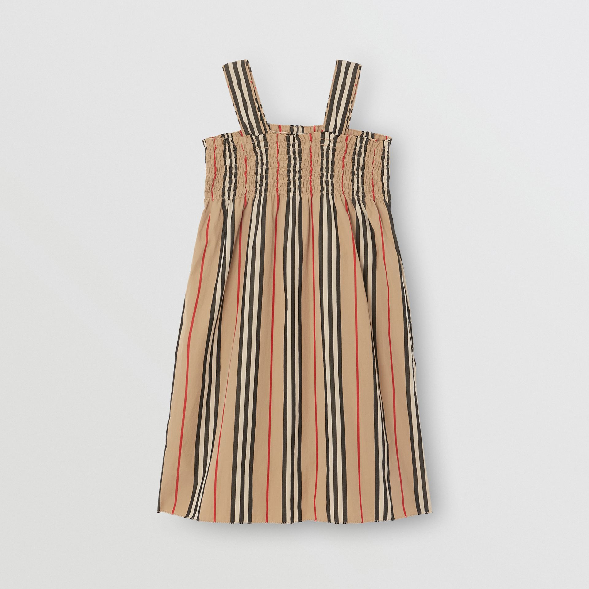 Smocked Icon Stripe Cotton Dress in Archive Beige | Burberry United States - gallery image 3