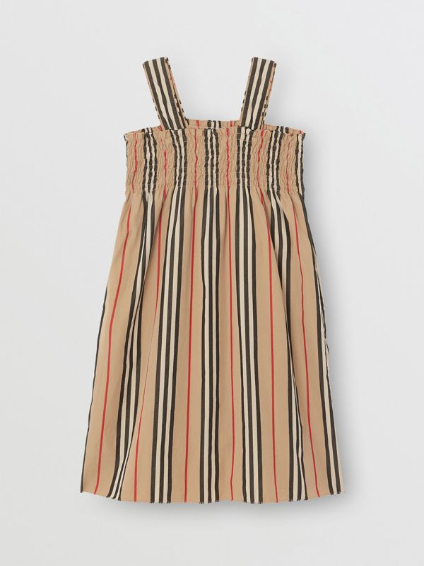 Smocked Icon Stripe Cotton Dress in Archive Beige | Burberry - cell image 3