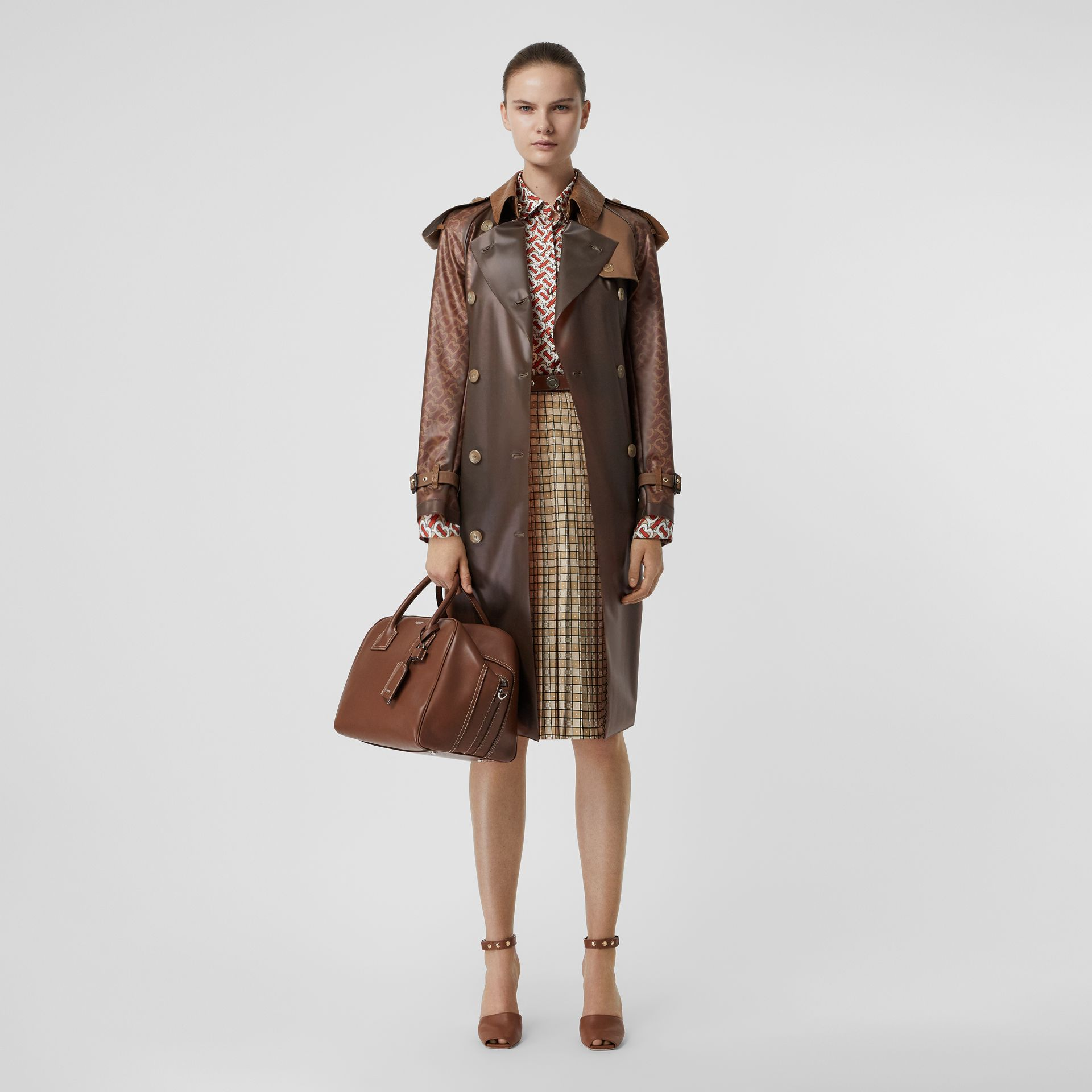 Leather Detail Showerproof Trench Coat in Flaxseed - Women | Burberry - gallery image 0