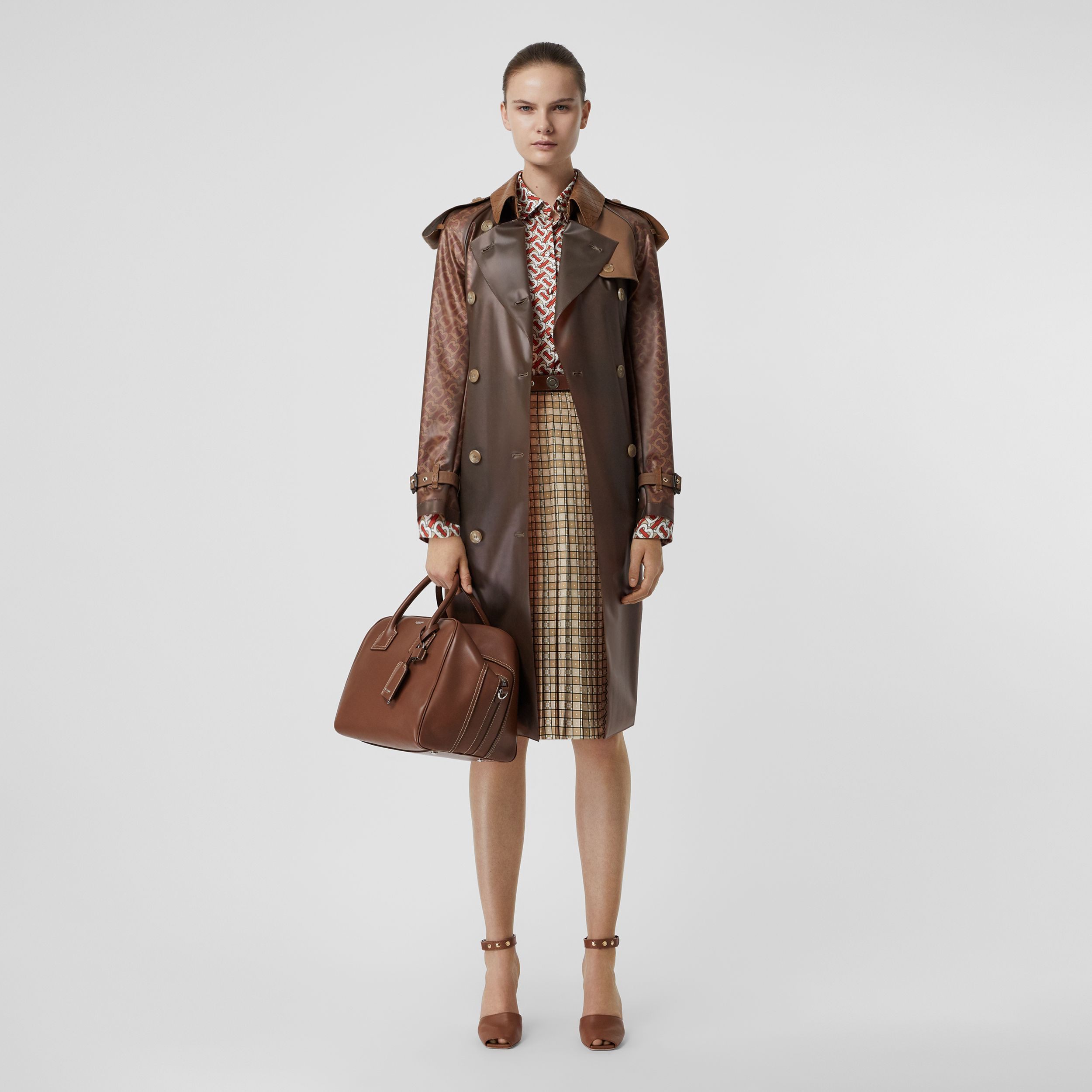 Leather Detail Showerproof Trench Coat in Flaxseed | Burberry - 1
