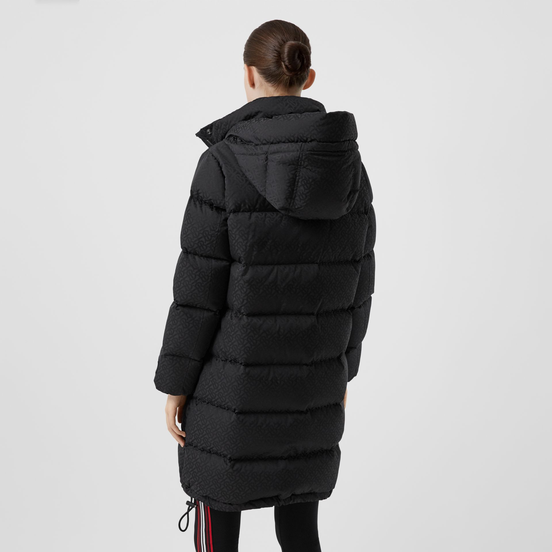 Detachable Hood Monogram ECONYL® Puffer Coat in Black - Women | Burberry - gallery image 2