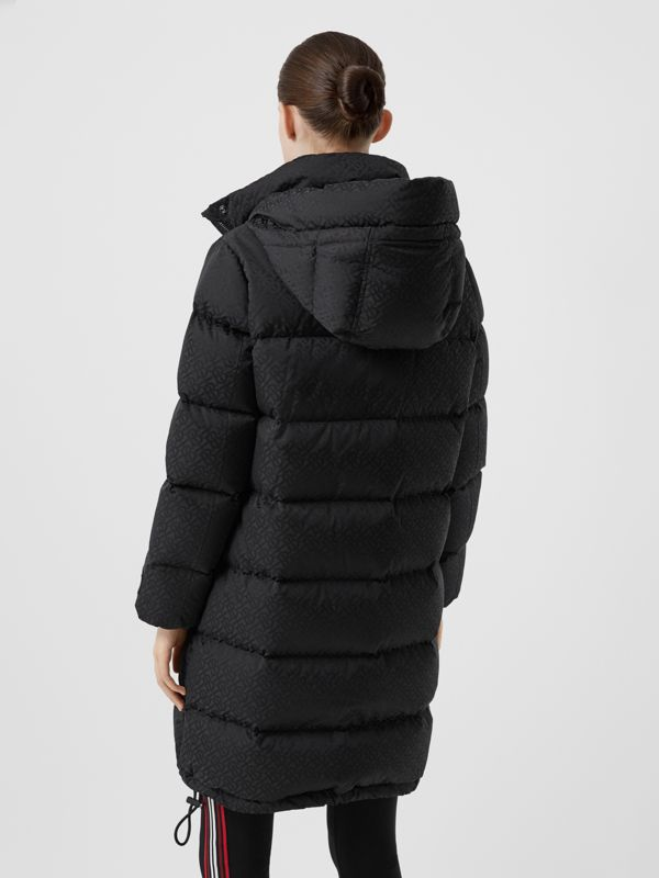 Detachable Hood Monogram ECONYL® Puffer Coat in Black - Women | Burberry - cell image 2
