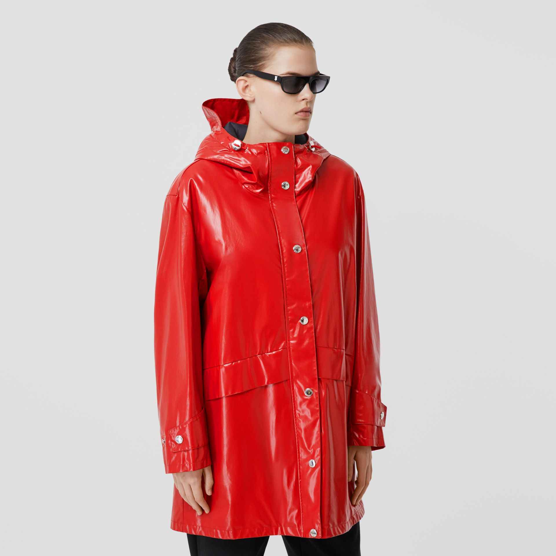 Horseferry Print Coated Jersey Parka in Bright Red - Women | Burberry Hong Kong S.A.R - gallery image 6