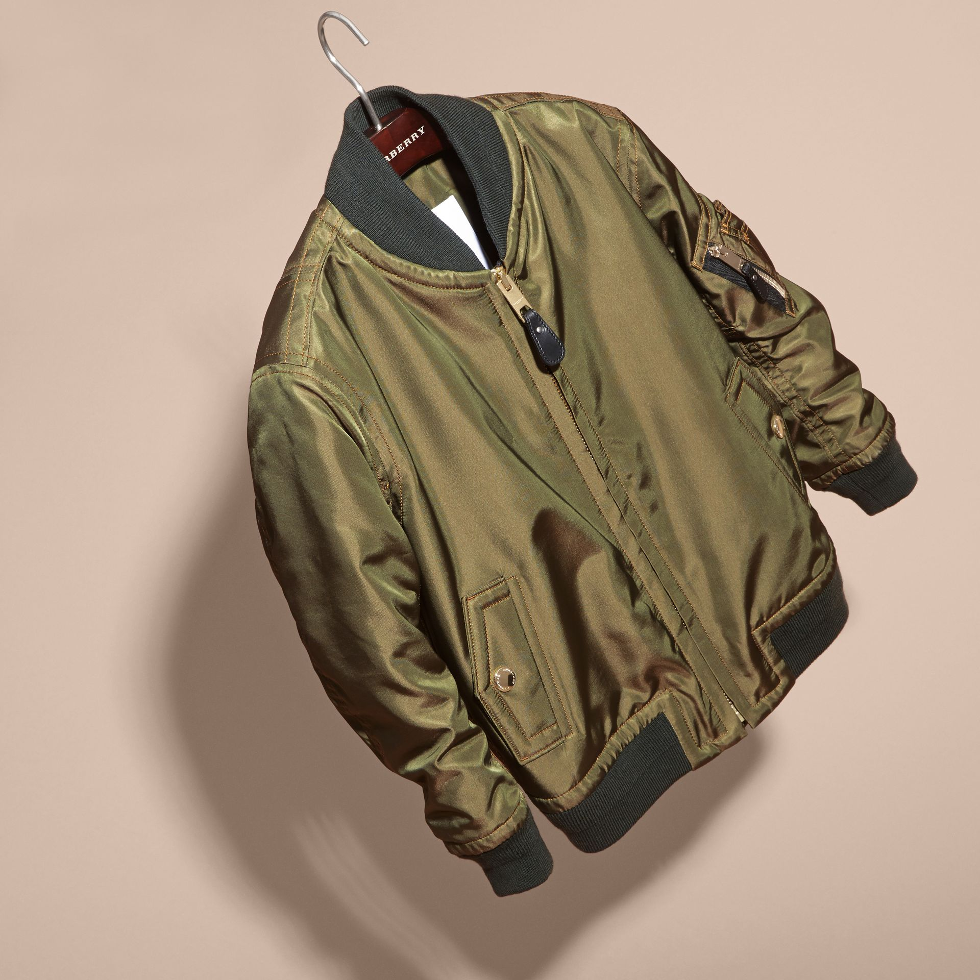 Light military green Leather Trim Bomber Jacket - gallery image 3