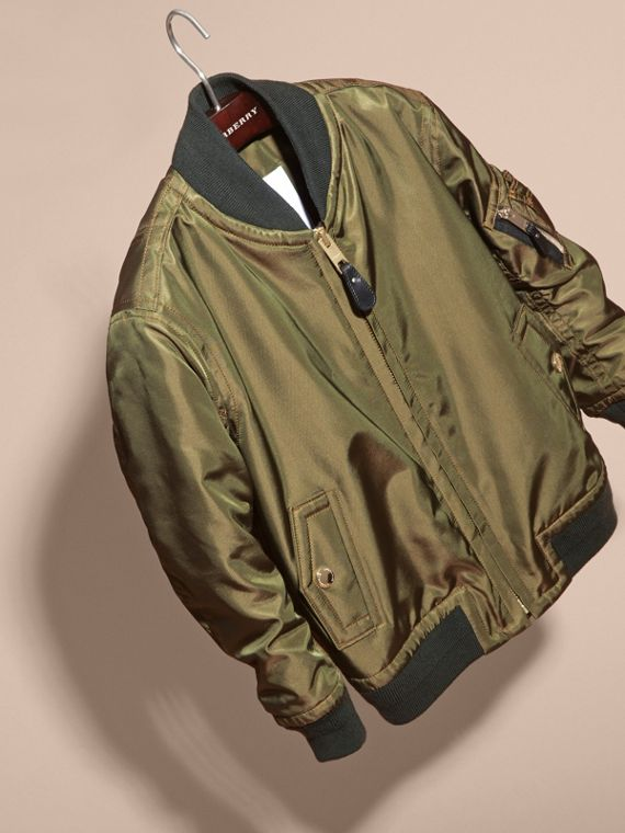 Light military green Leather Trim Bomber Jacket - cell image 2
