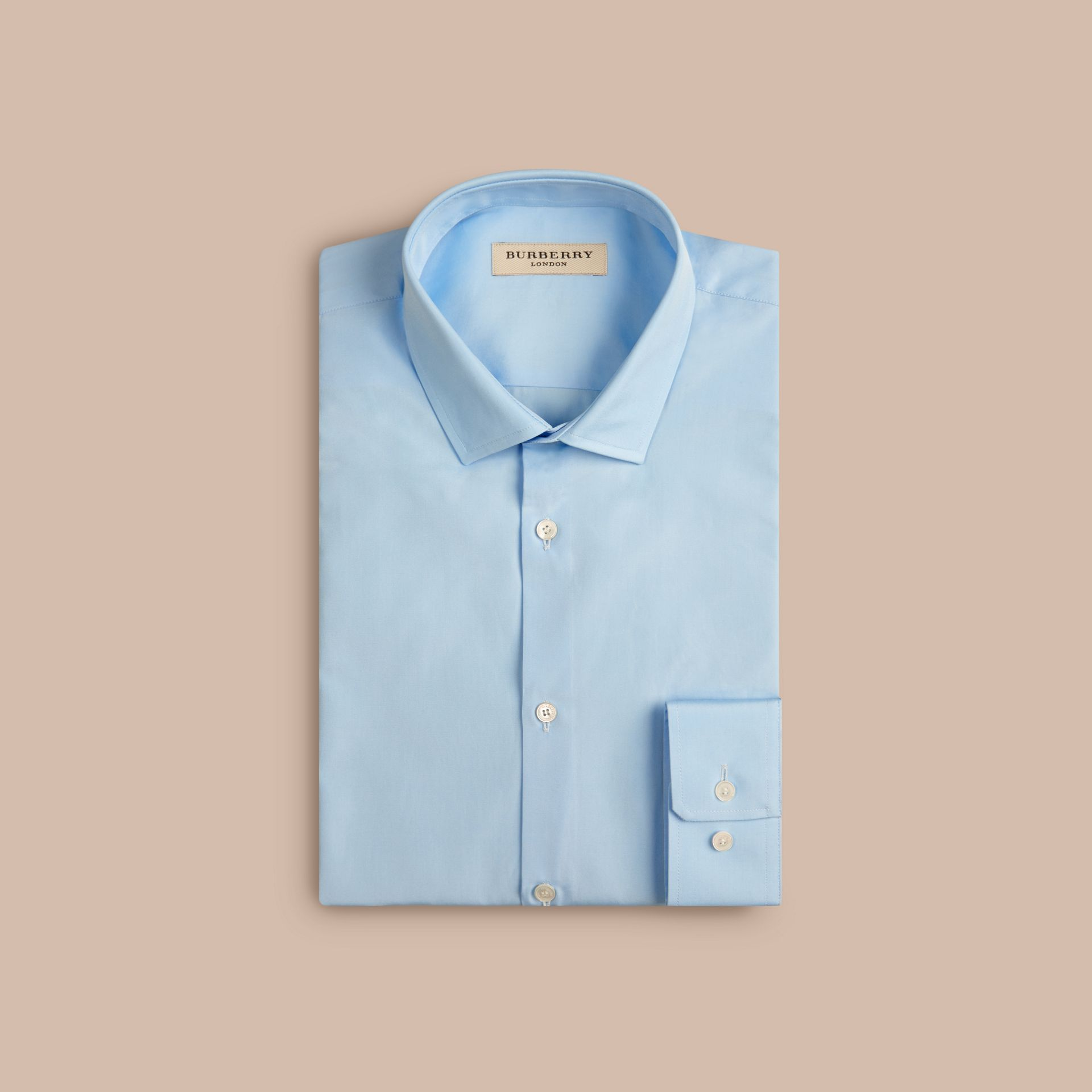 Slim Fit Cotton Poplin Shirt in City Blue - Men | Burberry - gallery image 4