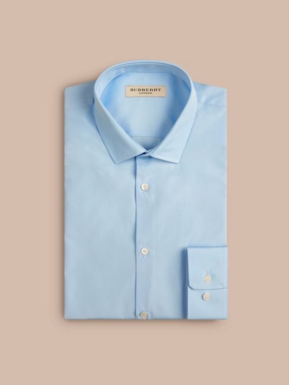 Slim Fit Cotton Poplin Shirt in City Blue - Men | Burberry
