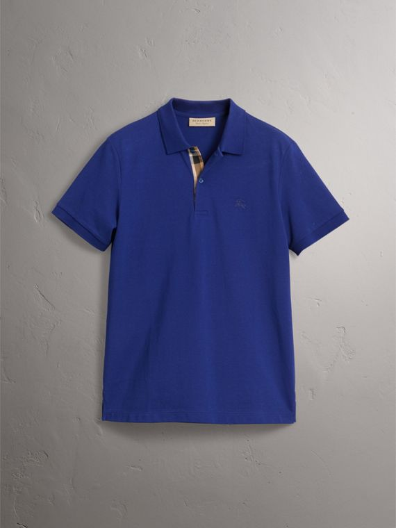 Check Placket Cotton Piqué Polo Shirt in Bright Blue