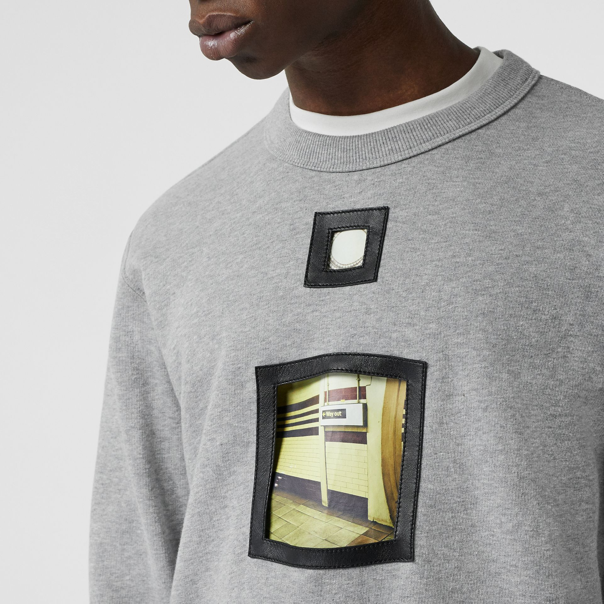 Cut-out Detail Cotton Sweatshirt in Pale Grey Melange - Men | Burberry - gallery image 1