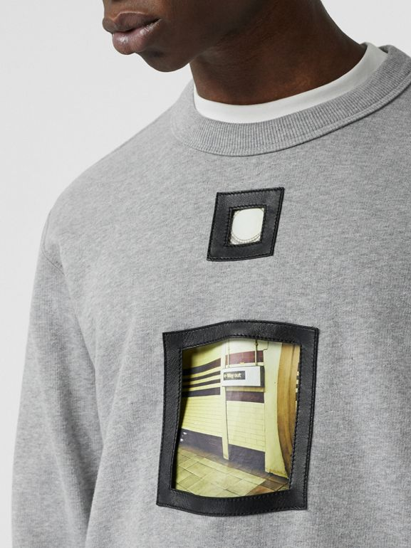 Cut-out Detail Cotton Sweatshirt in Pale Grey Melange - Men | Burberry - cell image 1