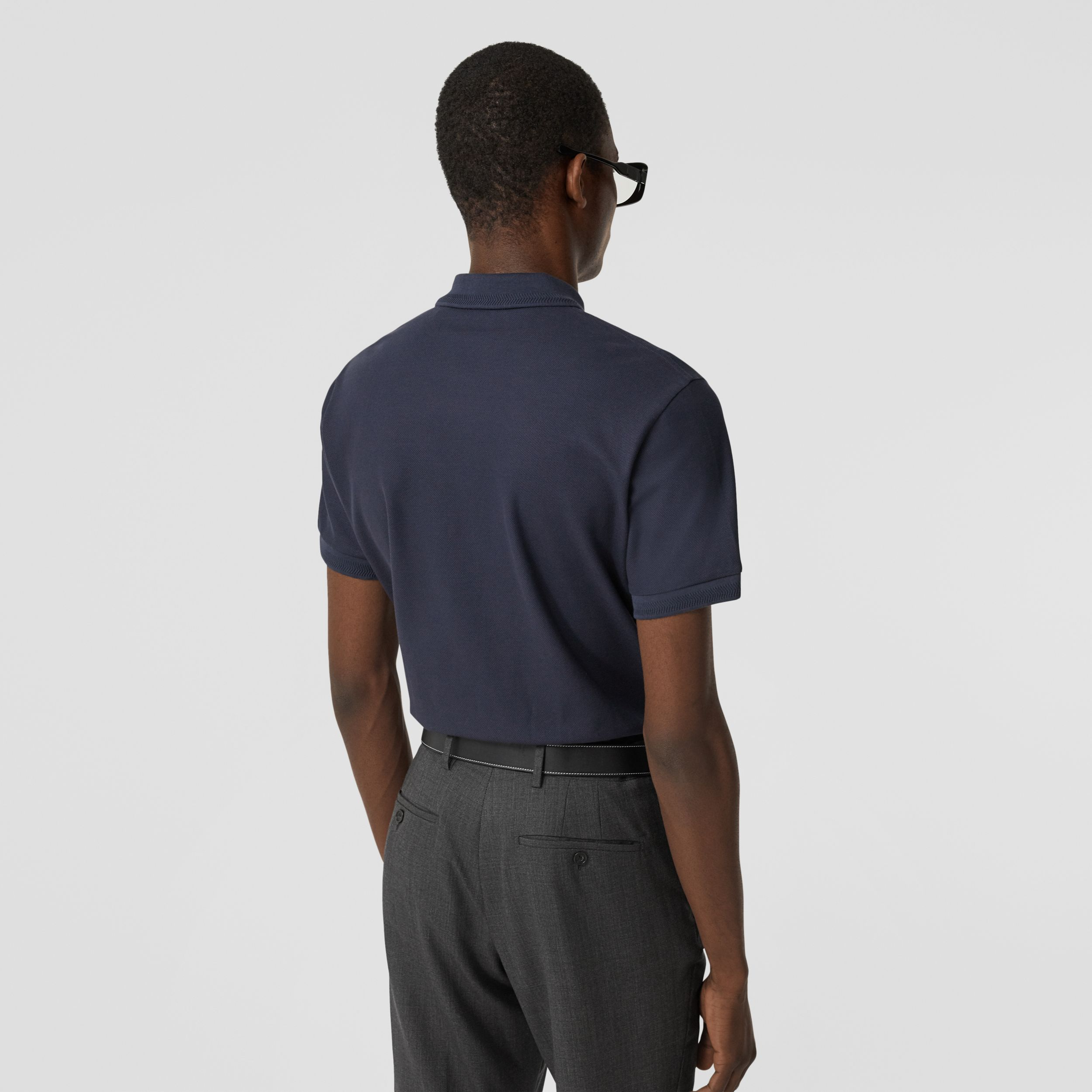 Cotton Piqué Polo Shirt in Navy - Men | Burberry - 3