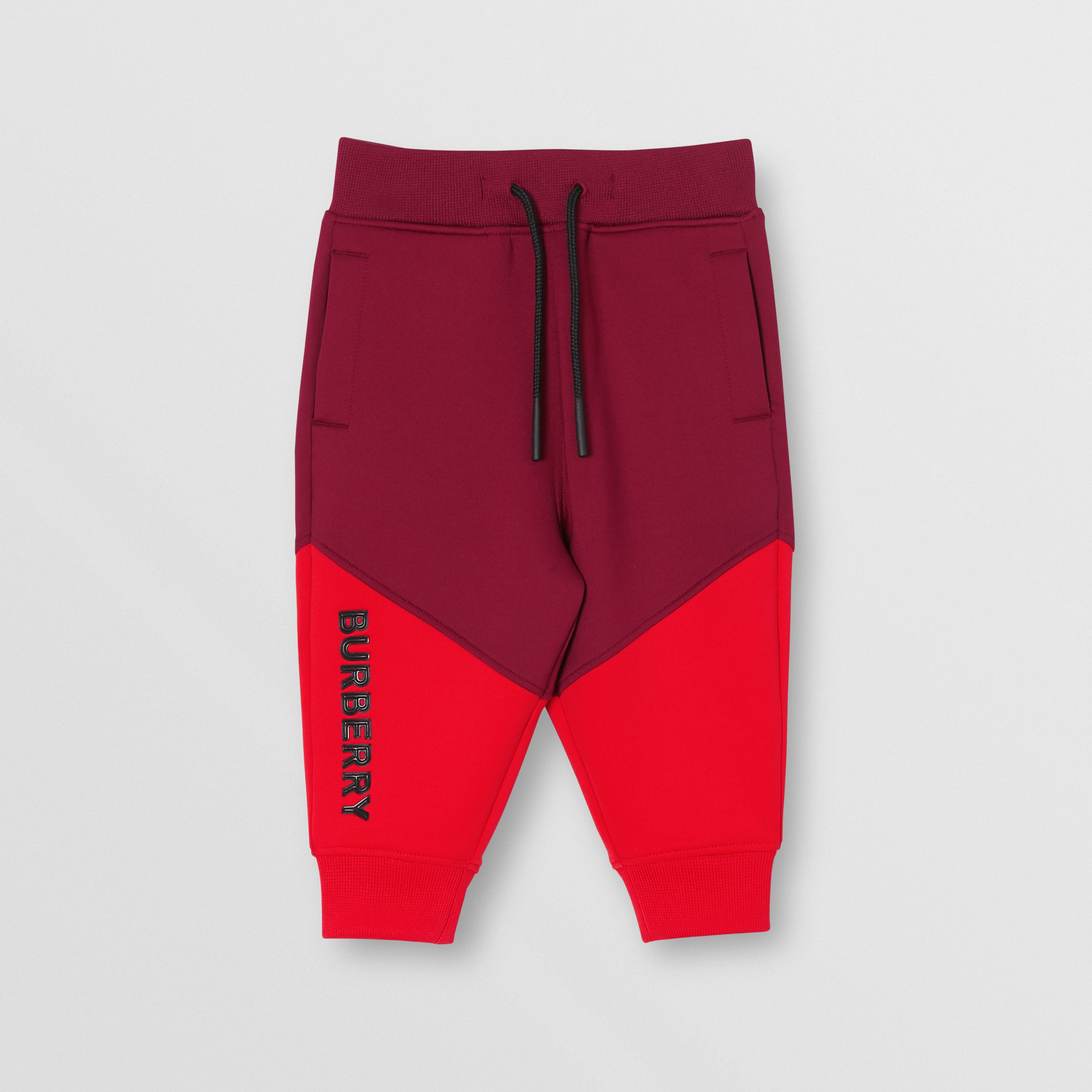 Logo Print Two-tone Stretch Jersey Jogging Pants in Dark Burgundy | Burberry Australia - 1