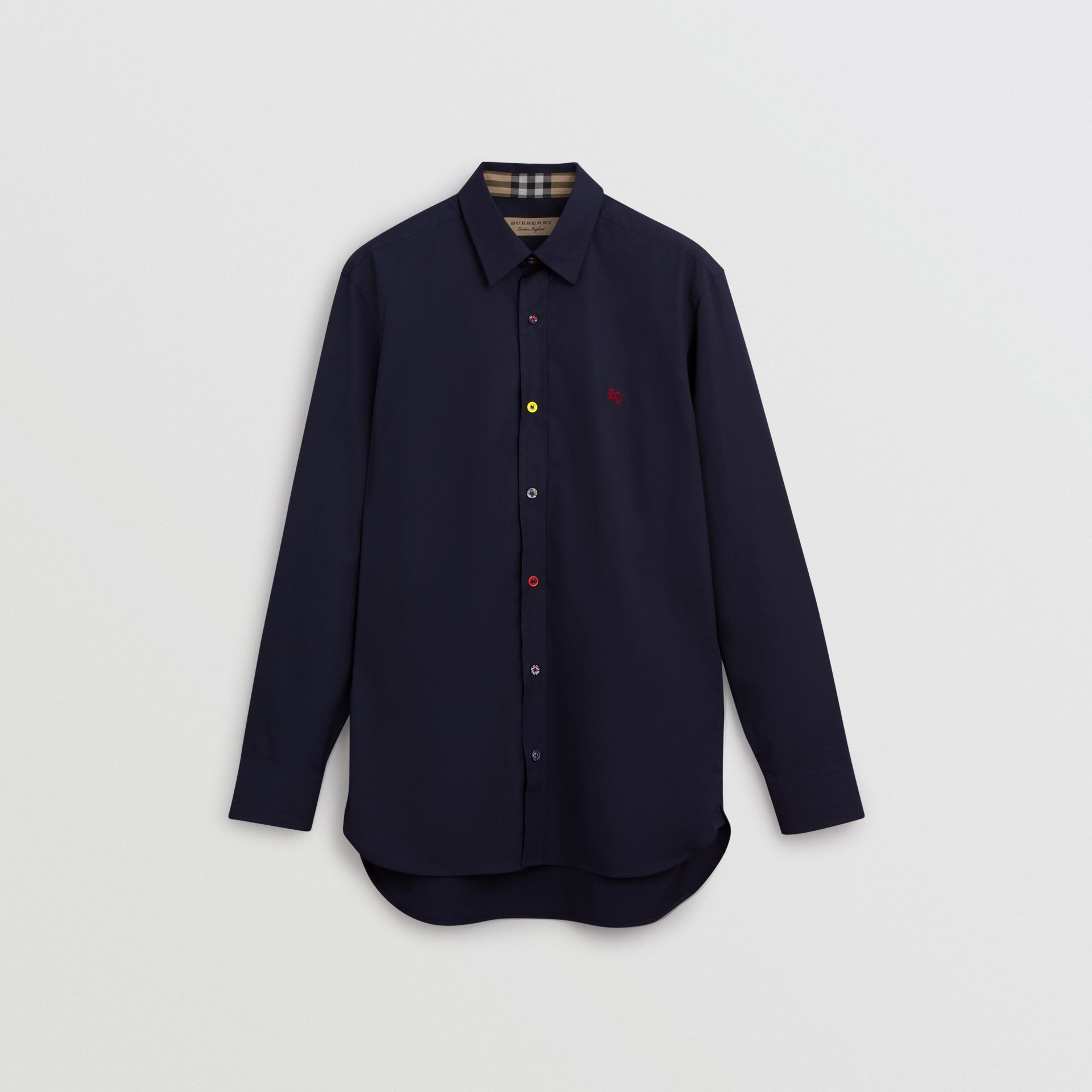 Contrast Button Stretch Cotton Shirt in Navy - Men | Burberry United Kingdom - gallery image 3