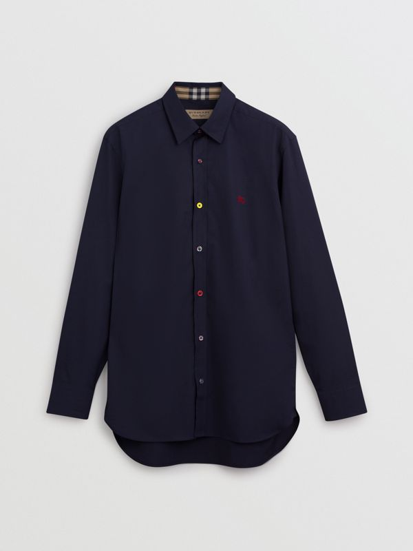 Camicia in cotone stretch con bottoni a contrasto (Navy) - Uomo | Burberry - cell image 3