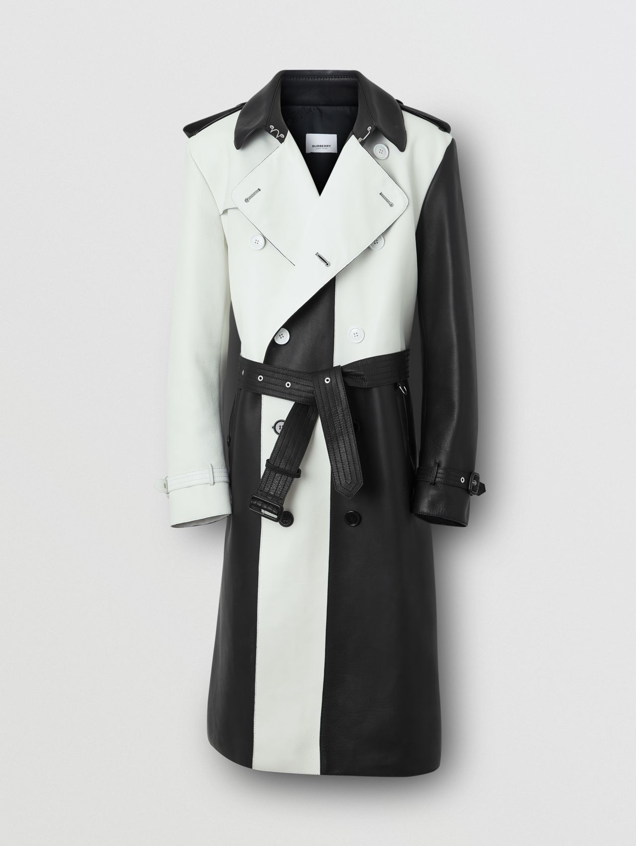 Panelled Plonge Leather Trench Coat in Black