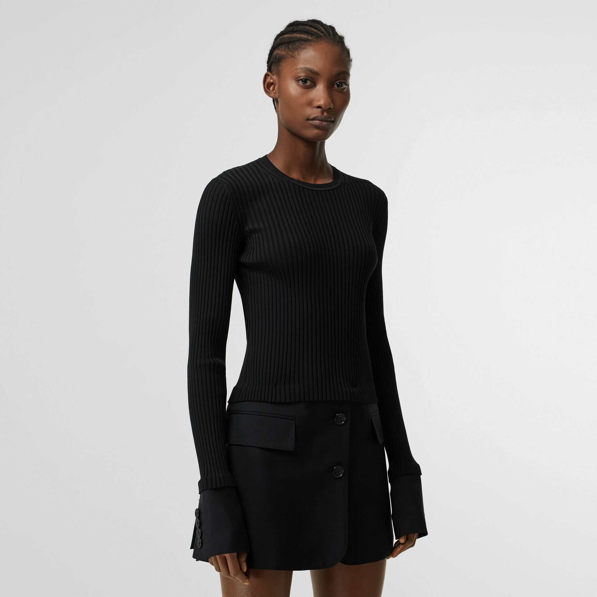 Tailored Hem Rib Knit Wool Mohair Dress in Black - Women | Burberry - gallery image 0