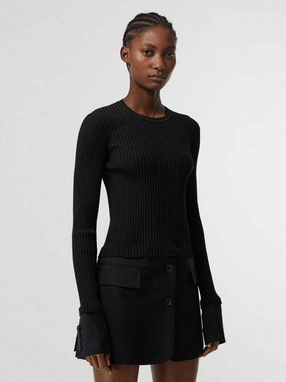 Tailored Hem Rib Knit Wool Mohair Dress in Black