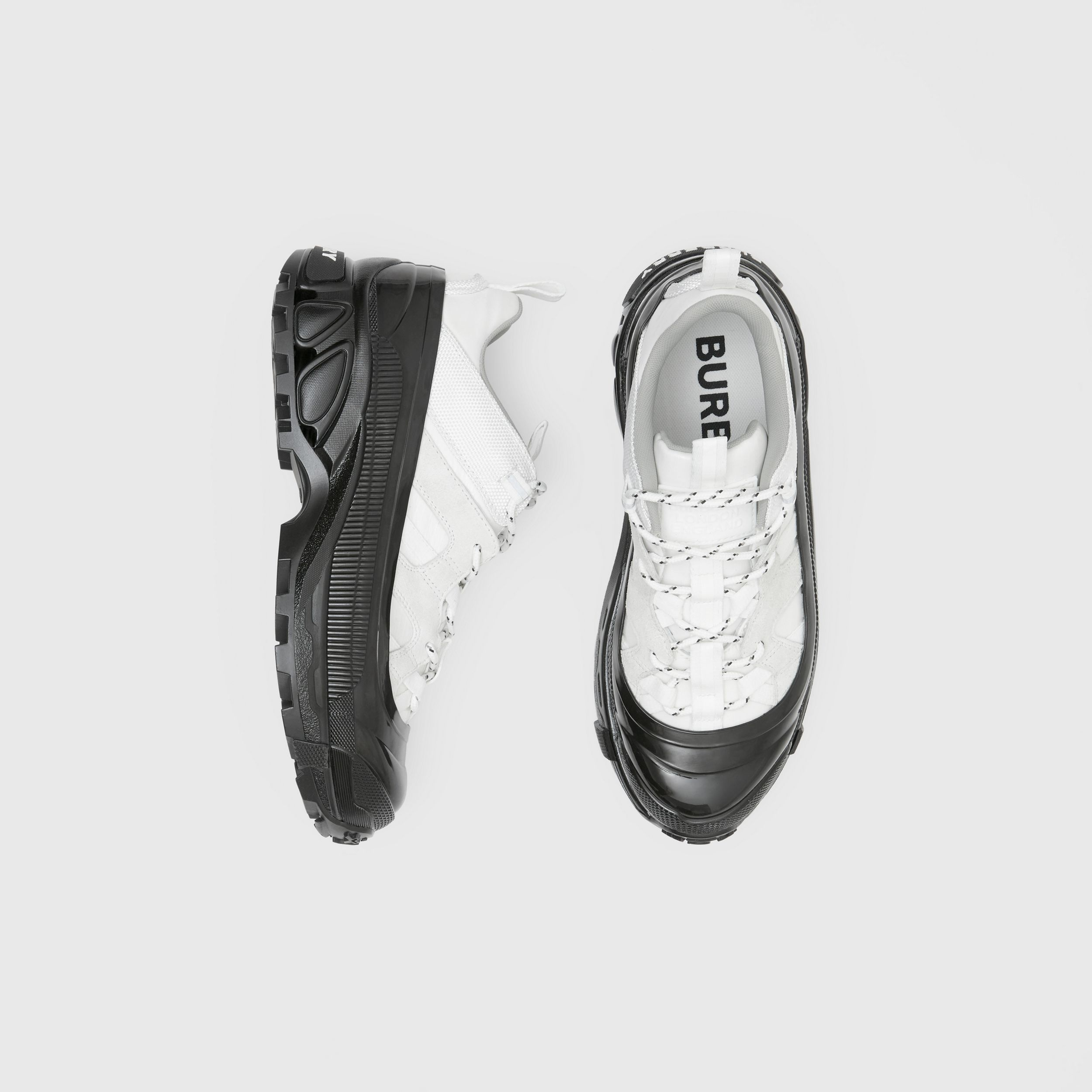 Nylon and Suede Arthur Sneakers in White - Women | Burberry Singapore - 1