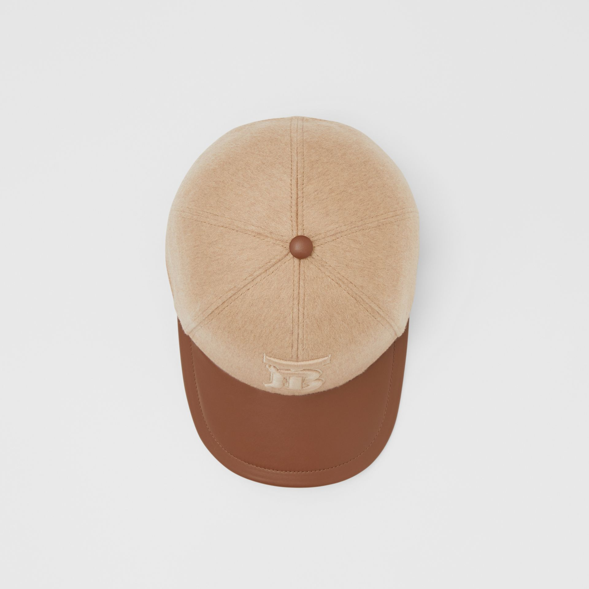 Monogram Motif Cashmere and Leather Baseball Cap in Camel | Burberry - gallery image 0