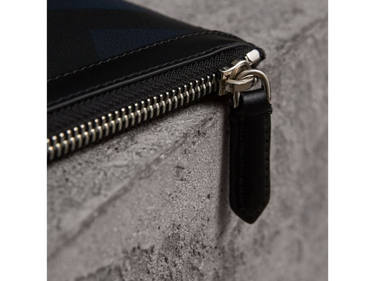 Zipped London Check Pouch in Navy/black - Men | Burberry - cell image 1