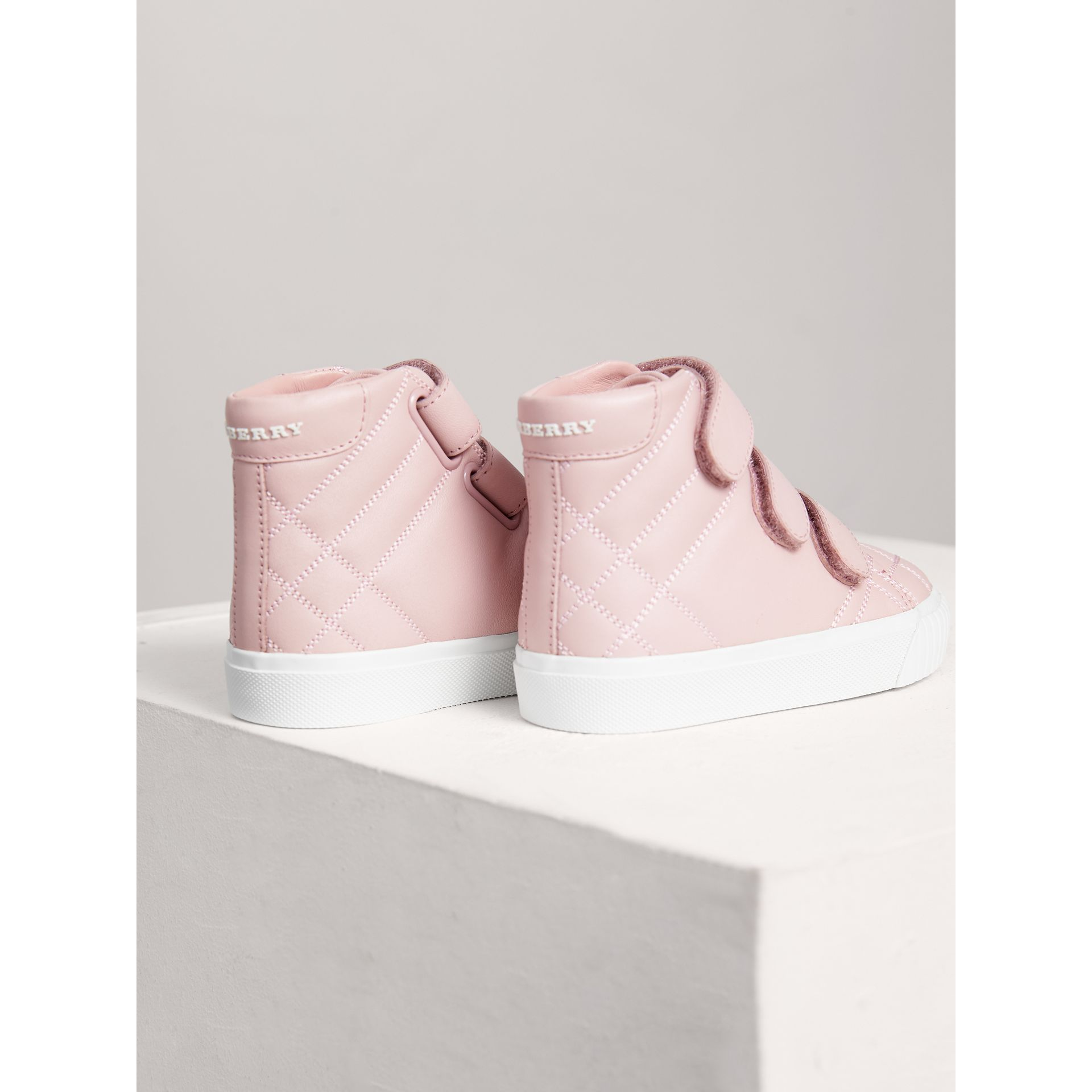 Check-quilted Leather High-top Sneakers in Light Pink Melange - Children | Burberry - gallery image 2
