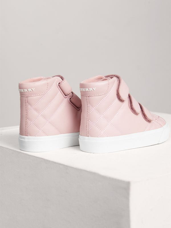Check-quilted Leather High-top Sneakers in Light Pink Melange - Children | Burberry - cell image 2