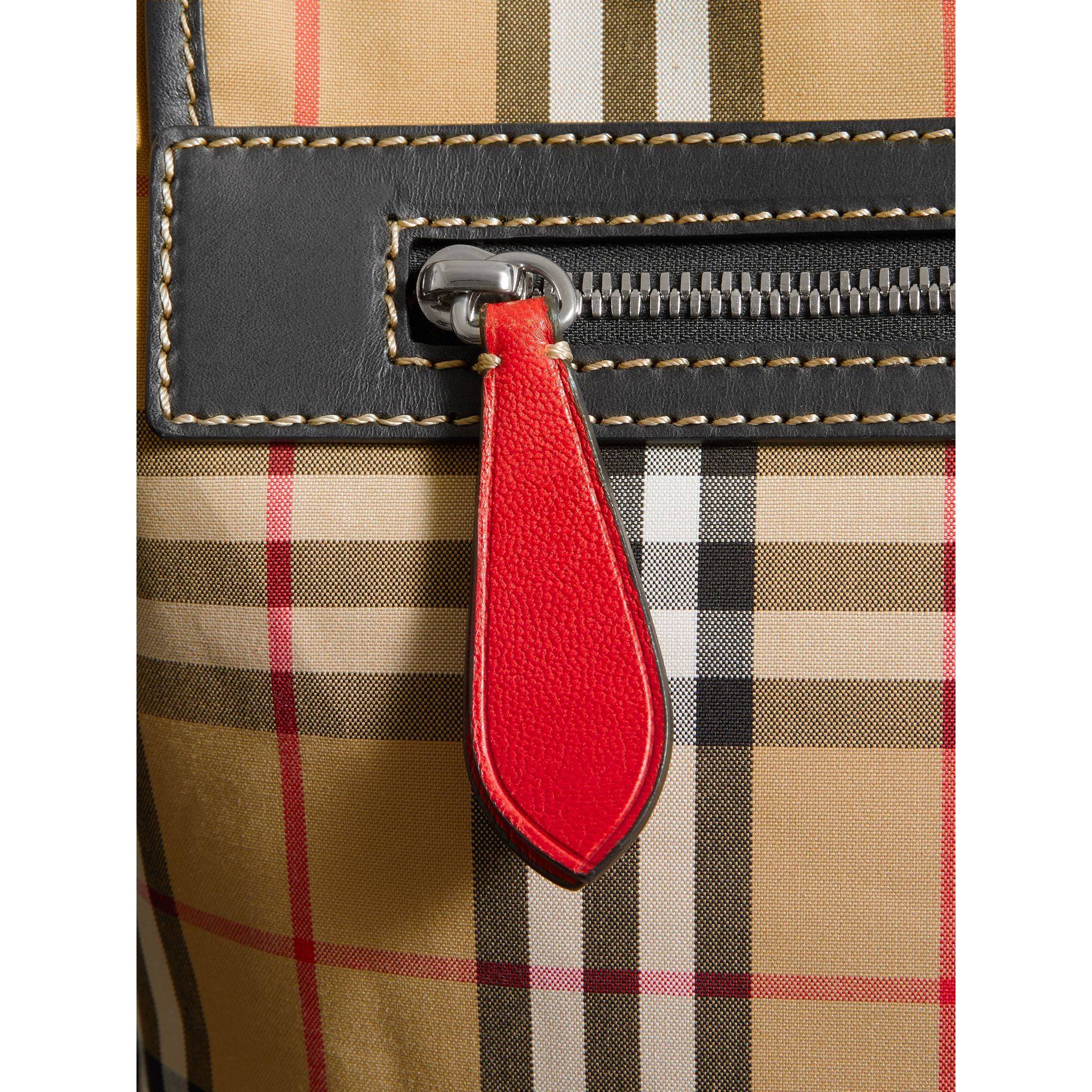Large Leather Trim Vintage Check Messenger Bag in Antique Yellow/military Red - Men | Burberry - gallery image 1
