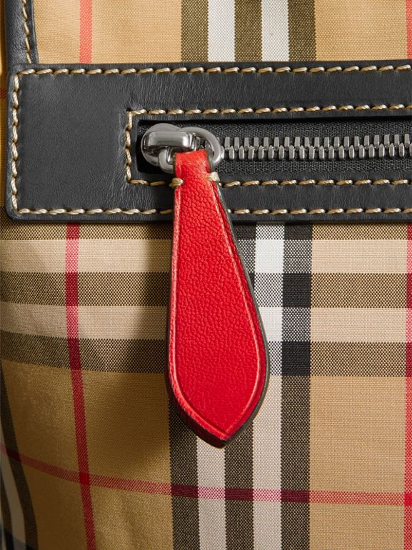 Large Leather Trim Vintage Check Messenger Bag in Antique Yellow/military Red - Men | Burberry Hong Kong - cell image 1