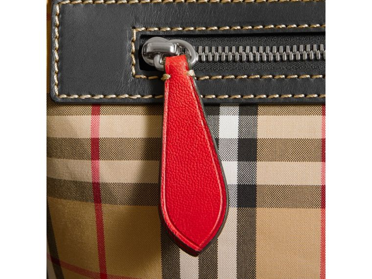 Large Leather Trim Vintage Check Messenger Bag in Antique Yellow/military Red - Men | Burberry United Kingdom - cell image 1