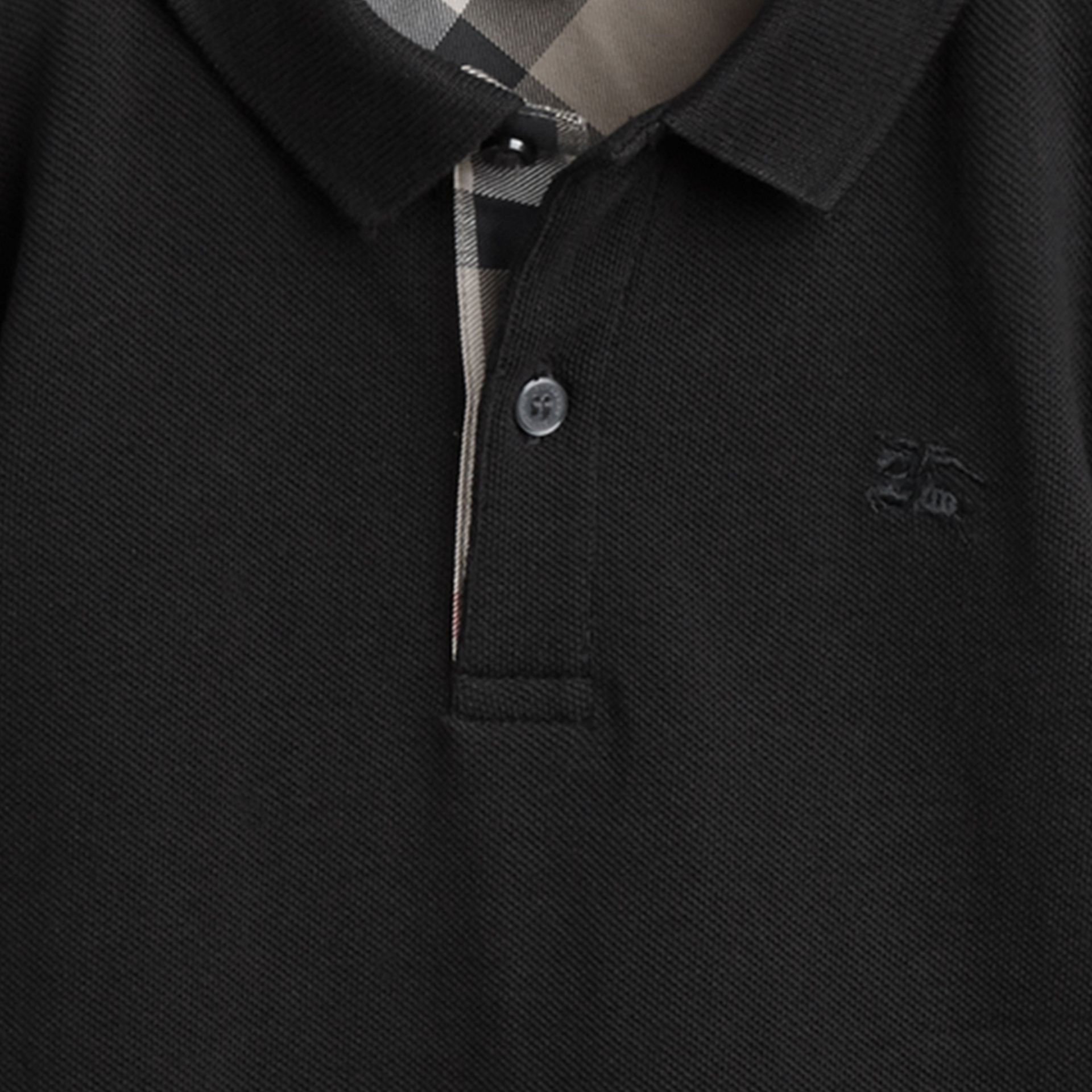 Check Placket Polo Shirt in Black - gallery image 2