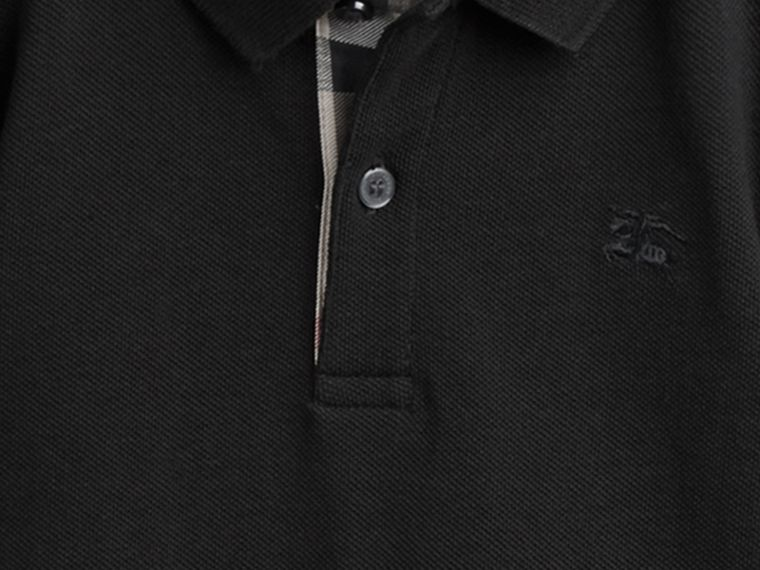 Check Placket Polo Shirt in Black - cell image 1