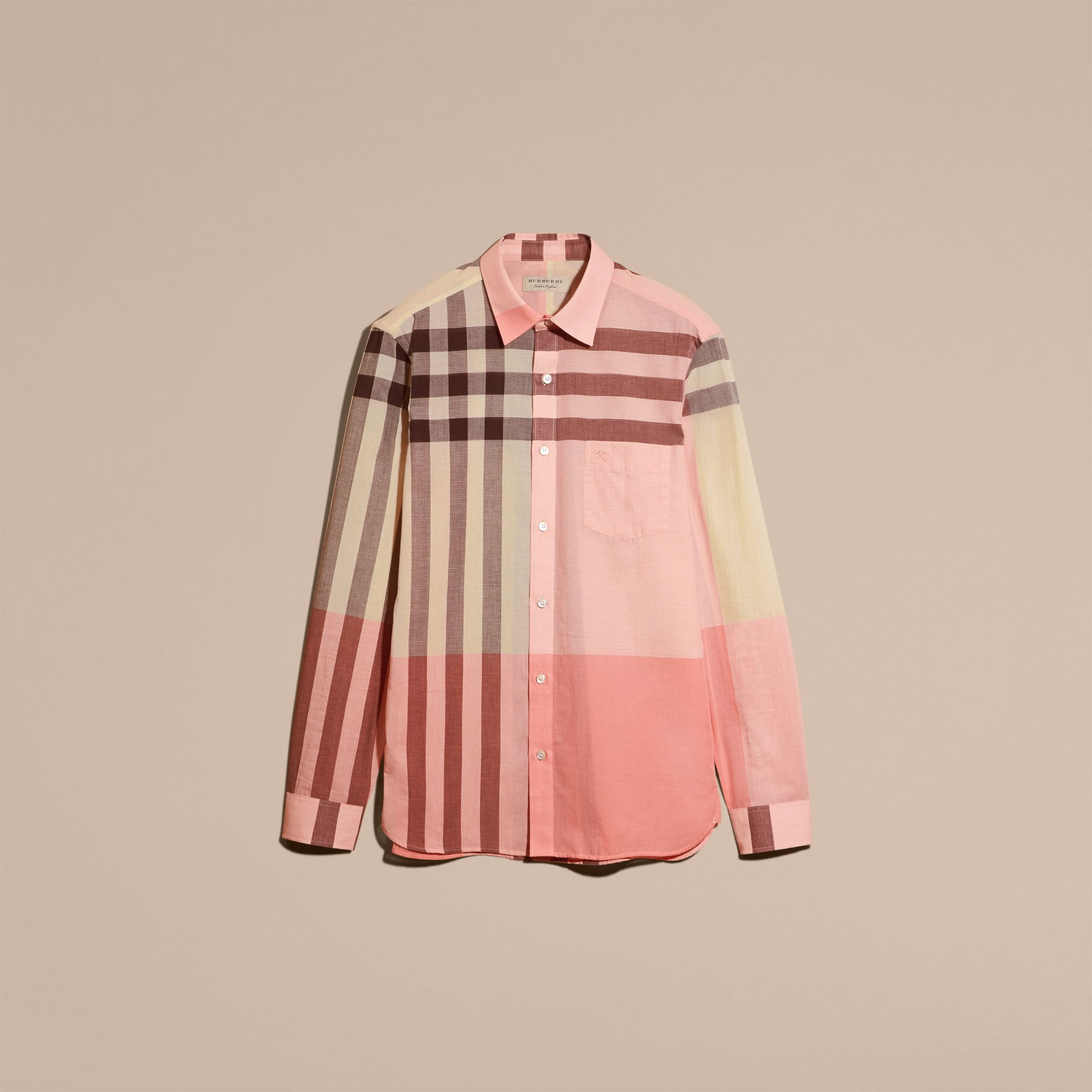 Check Cotton Poplin and Linen Shirt in Rose Pink - gallery image 4