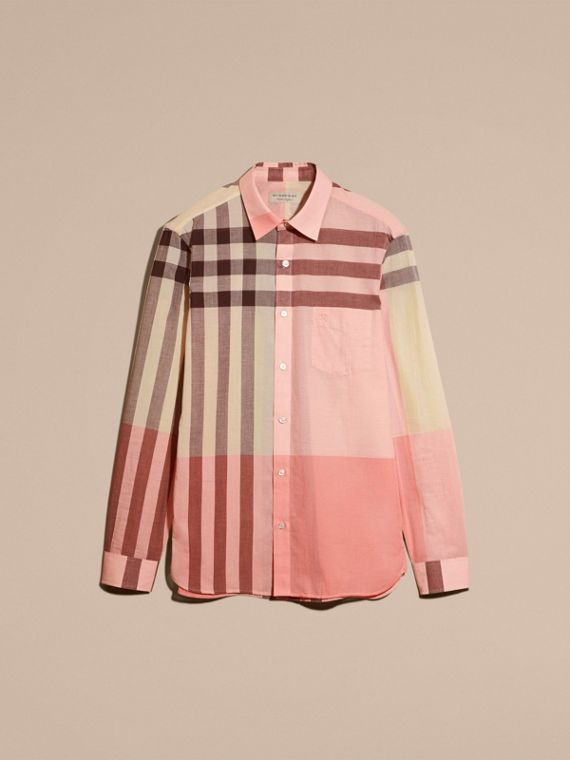 Check Cotton Poplin and Linen Shirt in Rose Pink - cell image 3