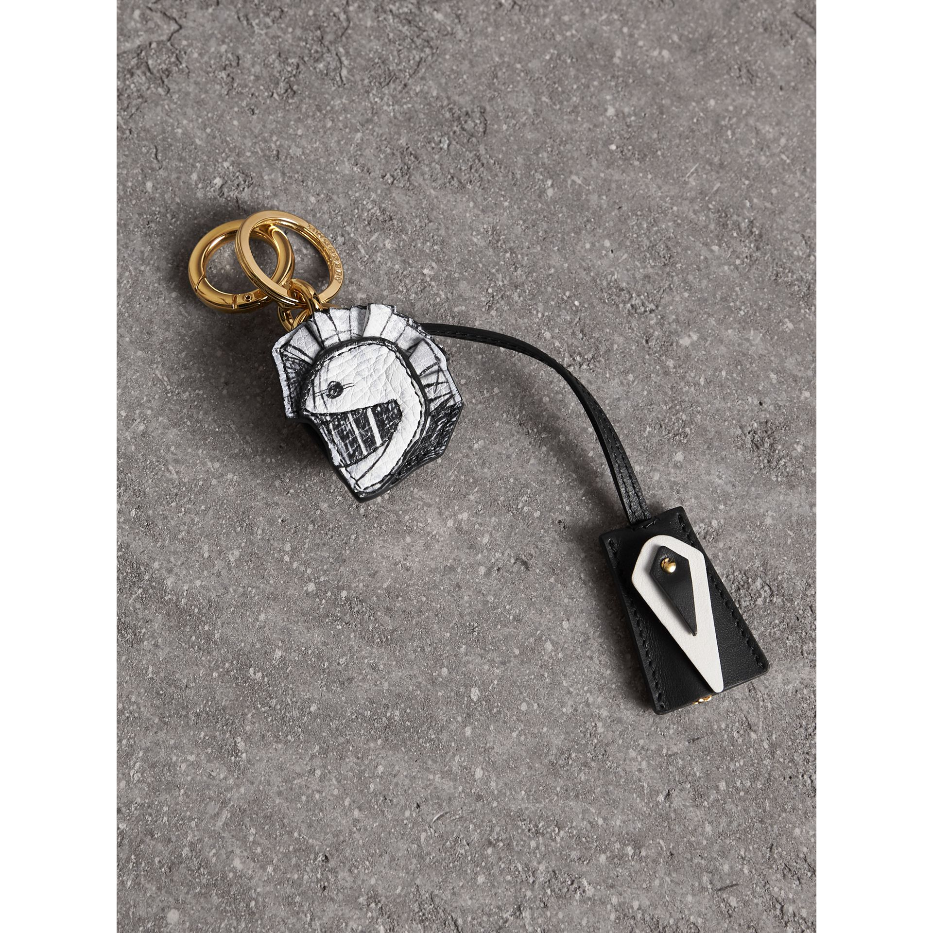 Pallas Helmet Motif Leather Key Charm with Padlock in Black/white - Women | Burberry - gallery image 1