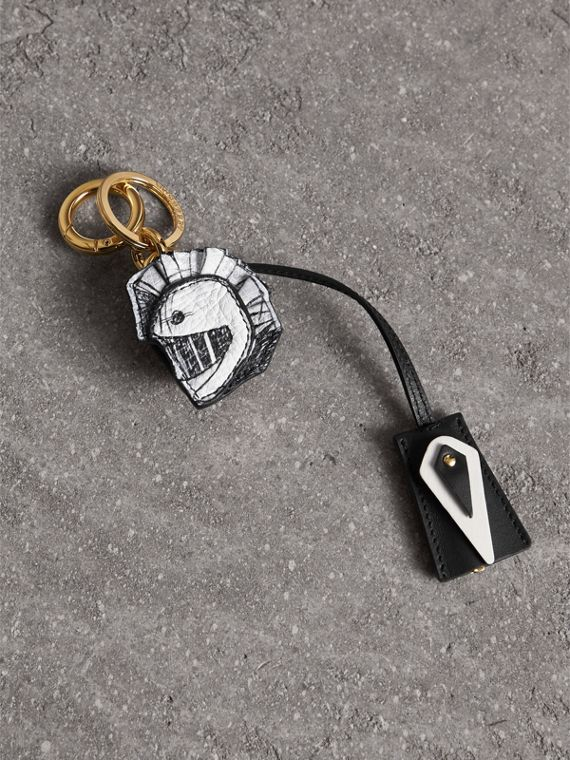 Pallas Helmet Motif Leather Key Charm with Padlock in Black/white