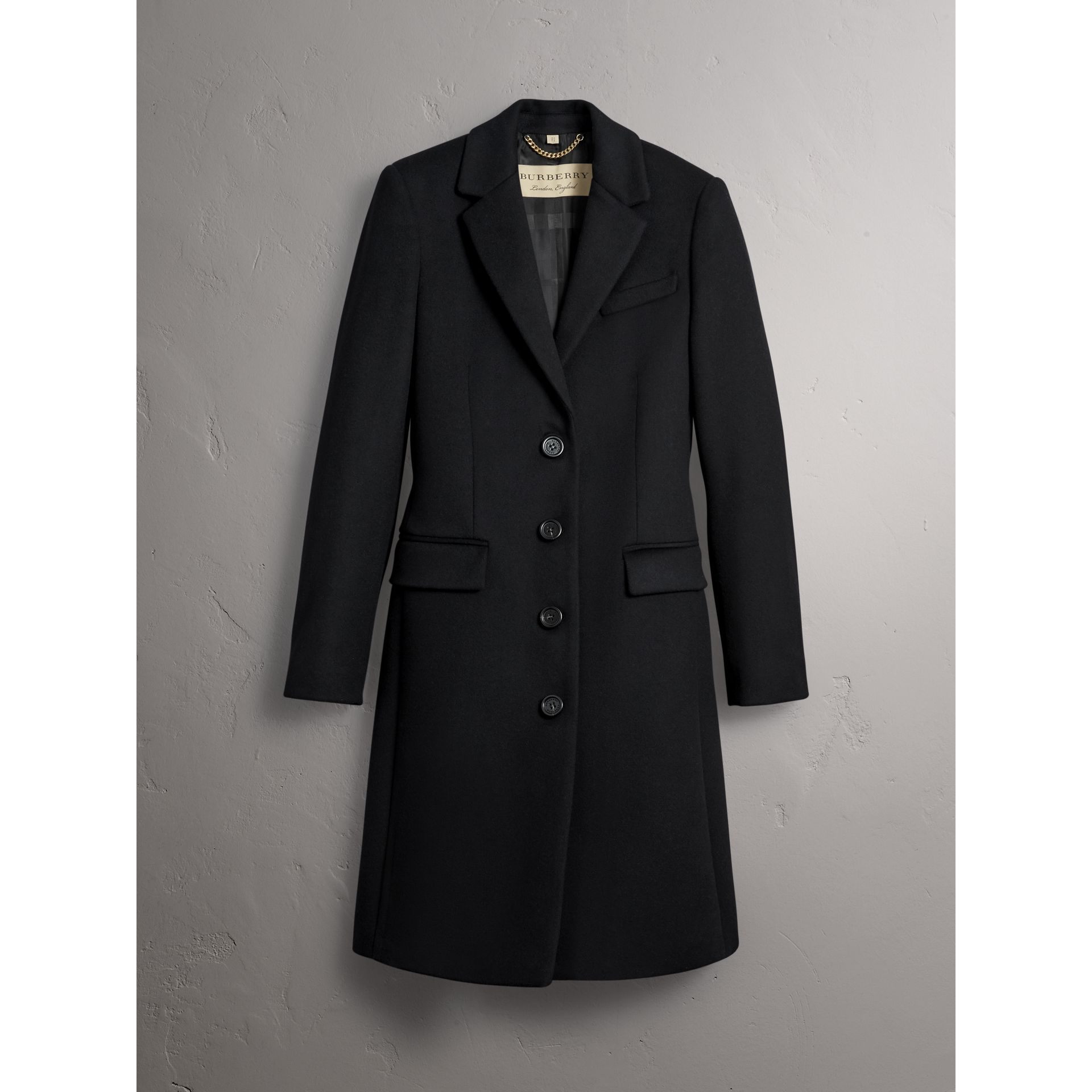 Wool Cashmere Tailored Coat in Black - Women | Burberry Australia - gallery image 4