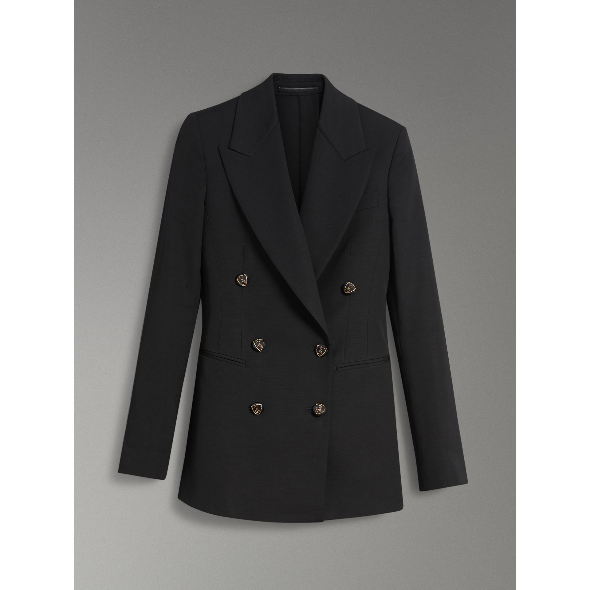 Crest Button Wool Silk Tailored Jacket in Black - Women | Burberry Canada - gallery image 3