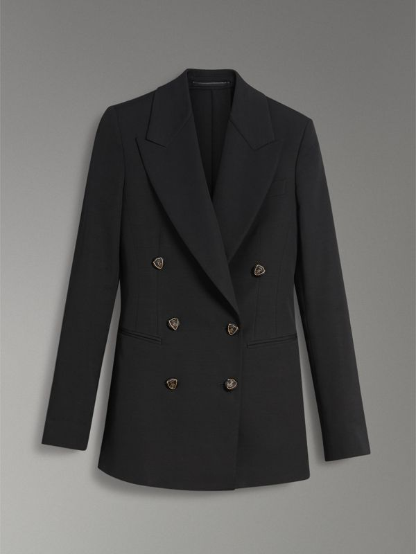 Crest Button Wool Silk Tailored Jacket in Black - Women | Burberry - cell image 3