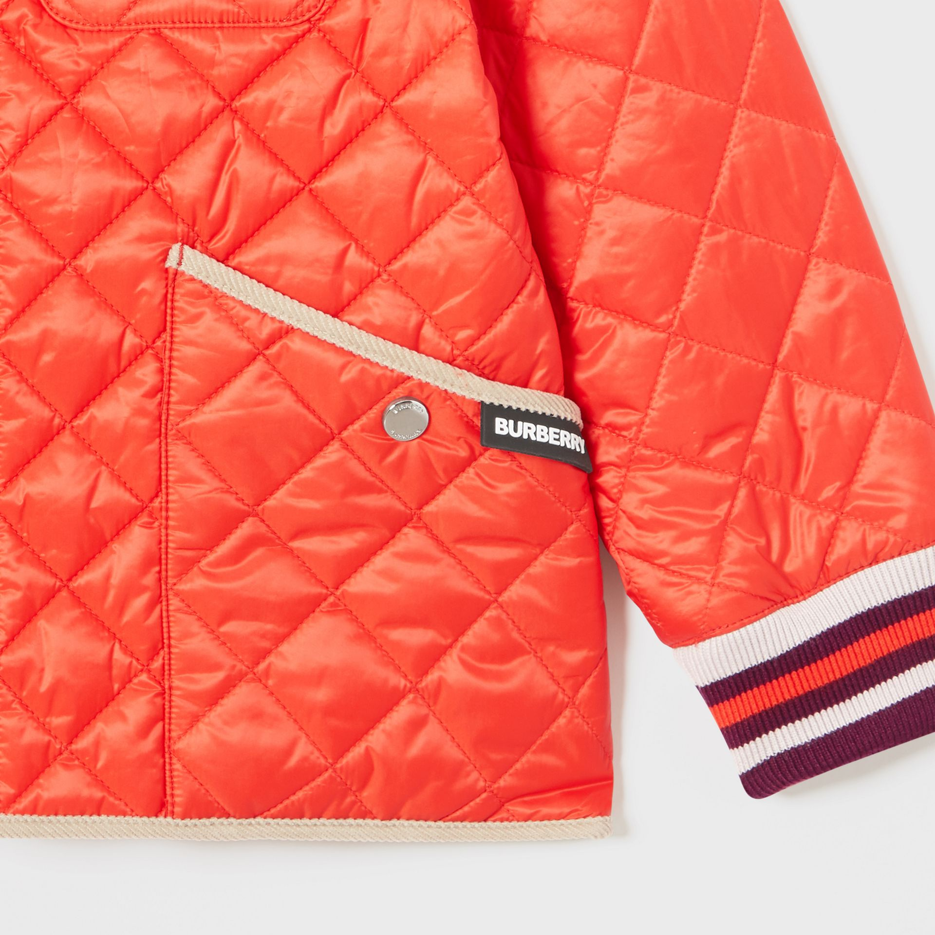 Corduroy Trim Lightweight Diamond Quilted Jacket in Bright Coral Orange | Burberry Australia - gallery image 4