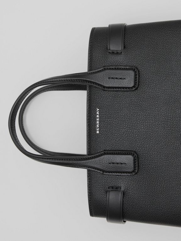 The Small Banner in Leather and Vintage Check in Black - Women | Burberry United States - cell image 1