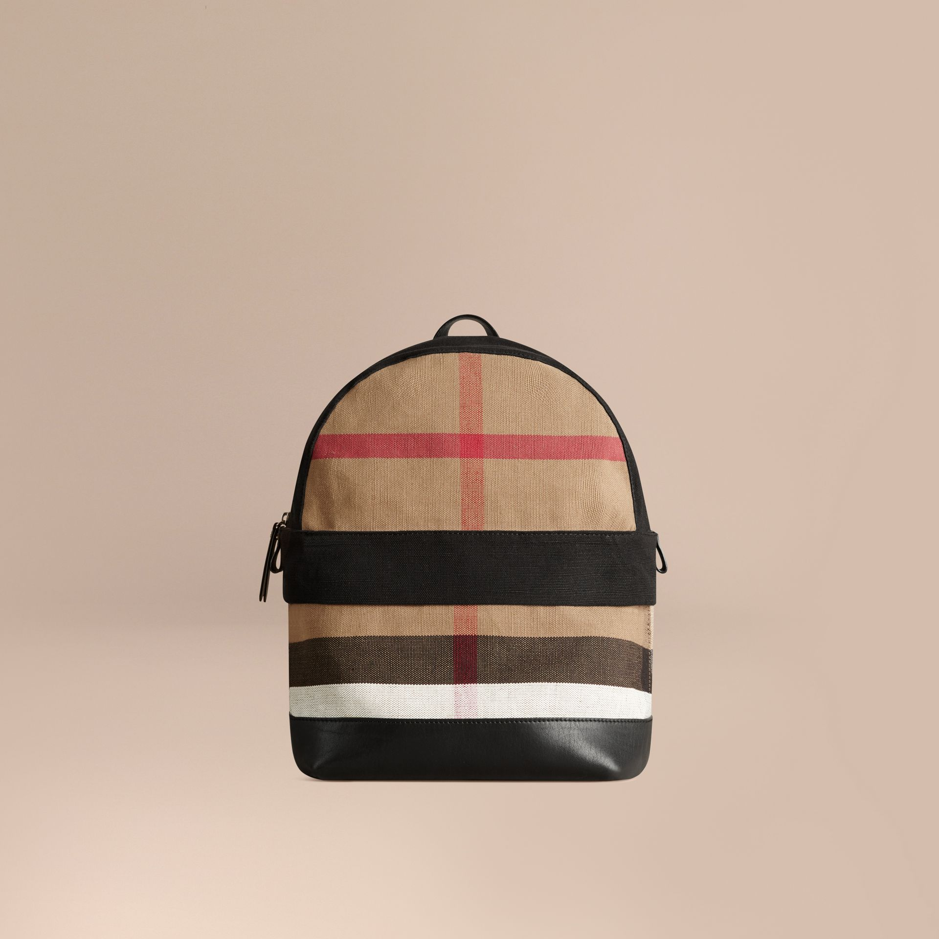 Canvas Check and Leather Backpack | Burberry - gallery image 1