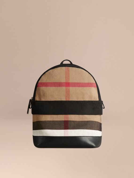 Canvas Check and Leather Backpack | Burberry Singapore