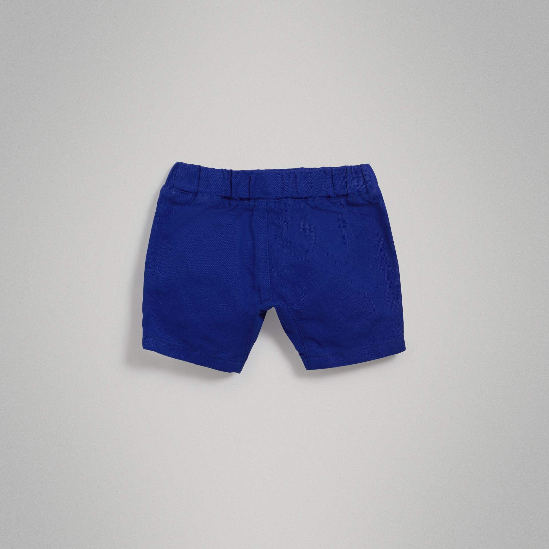 Drawcord Cotton Linen Twill Shorts in Brilliant Blue | Burberry - gallery image 2